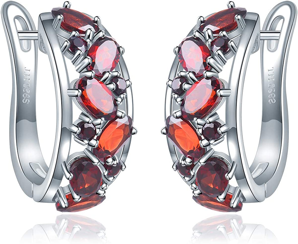 Hutang - Pendientes de aro de granate natural de 5 x 3 mm de plata de ley 925 con piedras preciosas rojas