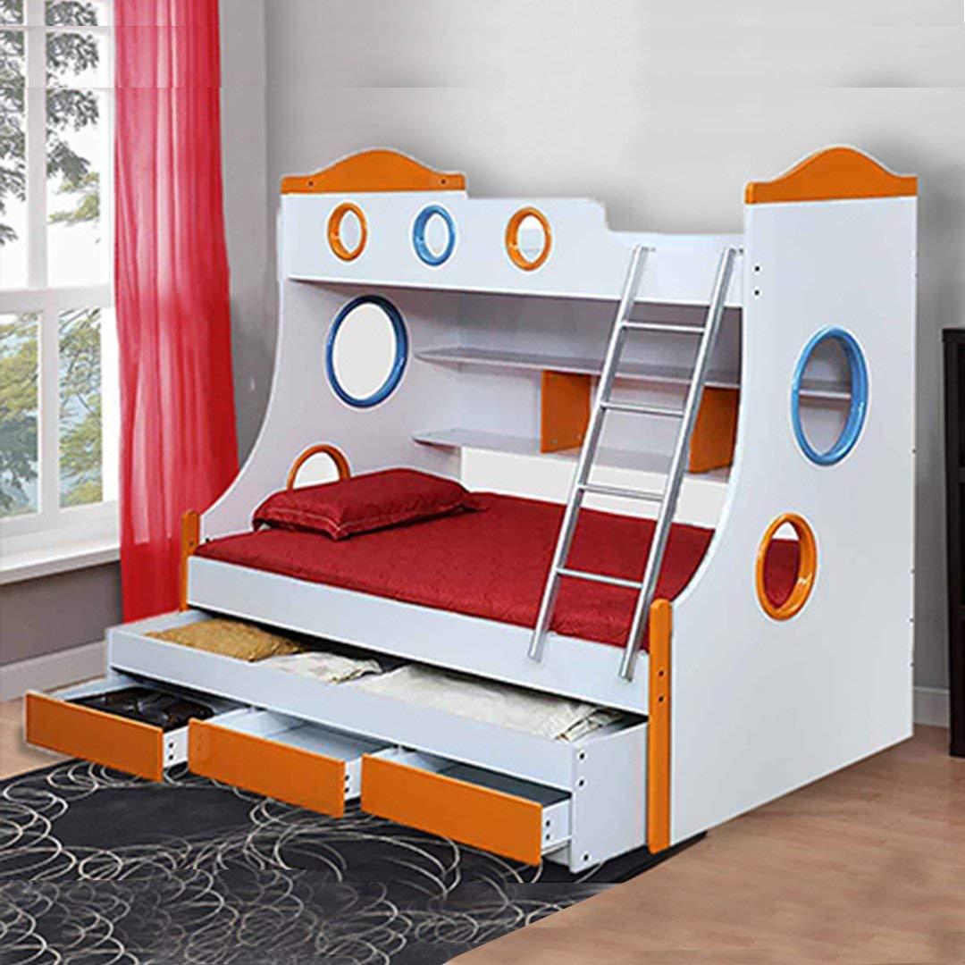 Royaloak Rome Double Size Bunk Bed (White and Orange): Amazon.in: Home & Kitchen