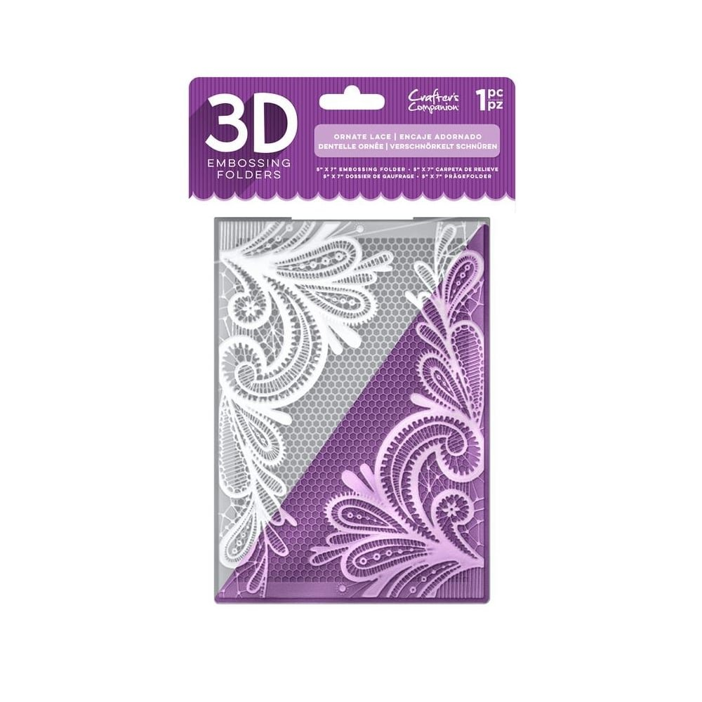 Crafter's Companion 5'' x 7'' 3D Floral Card Embossing Folder - Ornate Lace