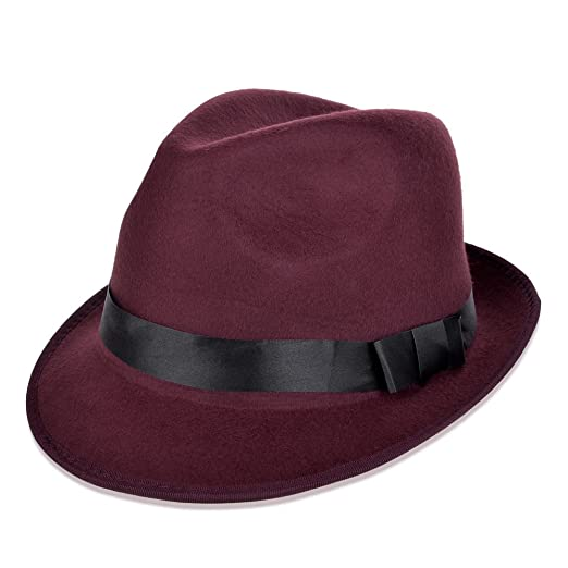06d9f829dd317 Vbiger Fedora Hats Bowler Hat Gangster Porkpie Derby Hats (Wine Red ...