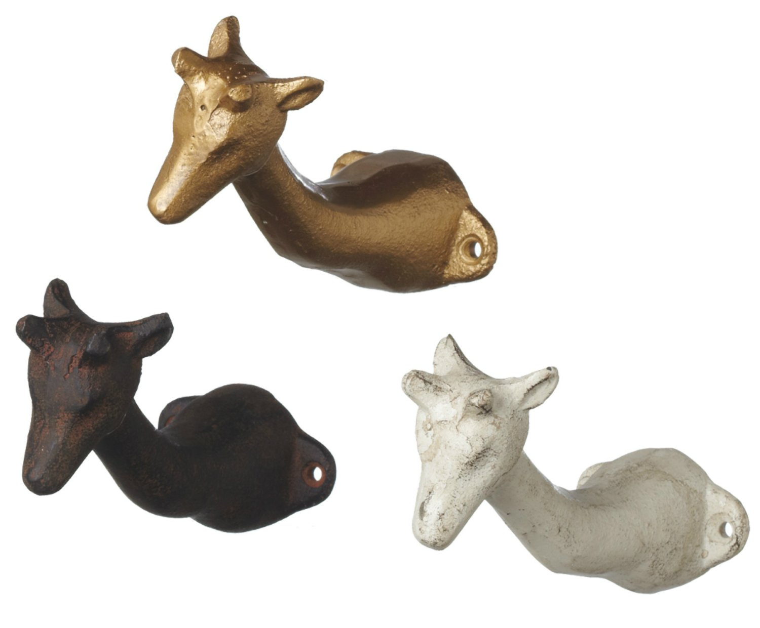 Gold White and Brown Giraffe Animals Wall Hooks Set of 3 Painted Cast Iron