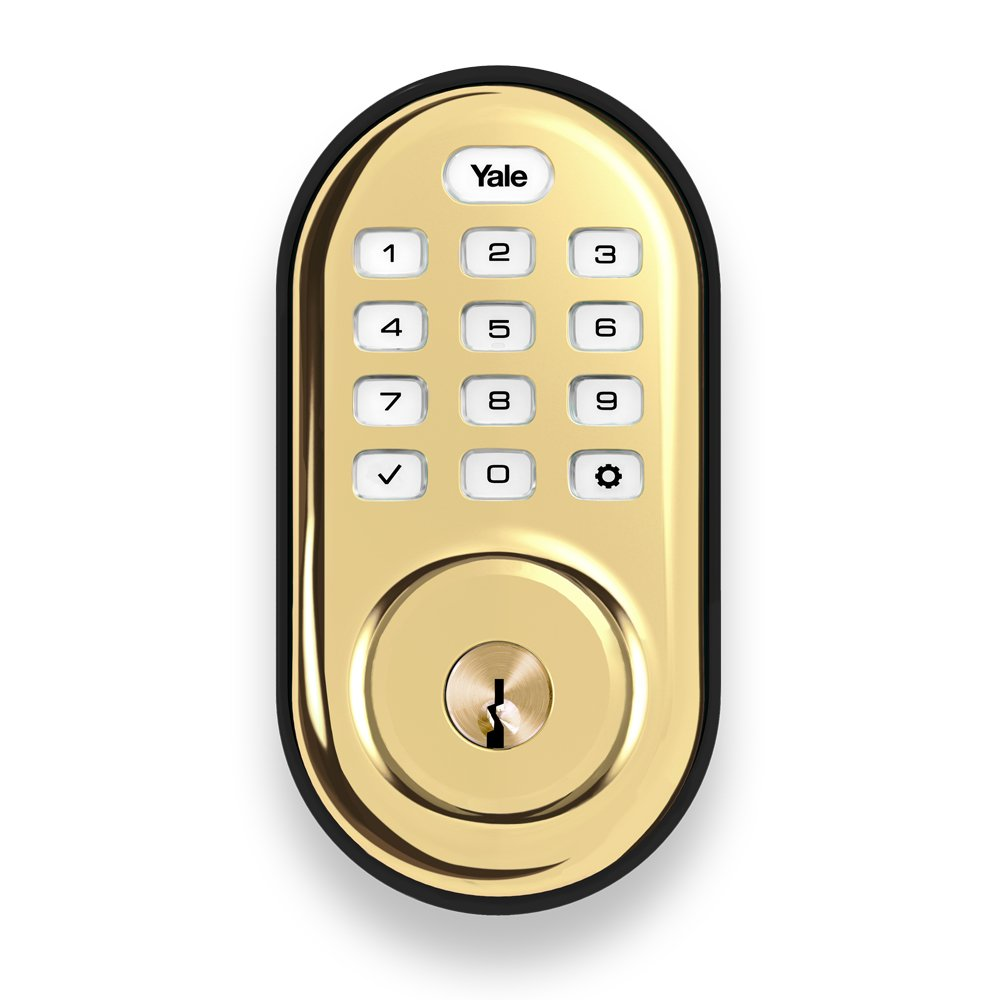 Yale YRD210-NR-605 Real Living Electronic Push Button Deadbolt, Fully Motorized with 25-User Code Memory, Polished Brass Yale Security