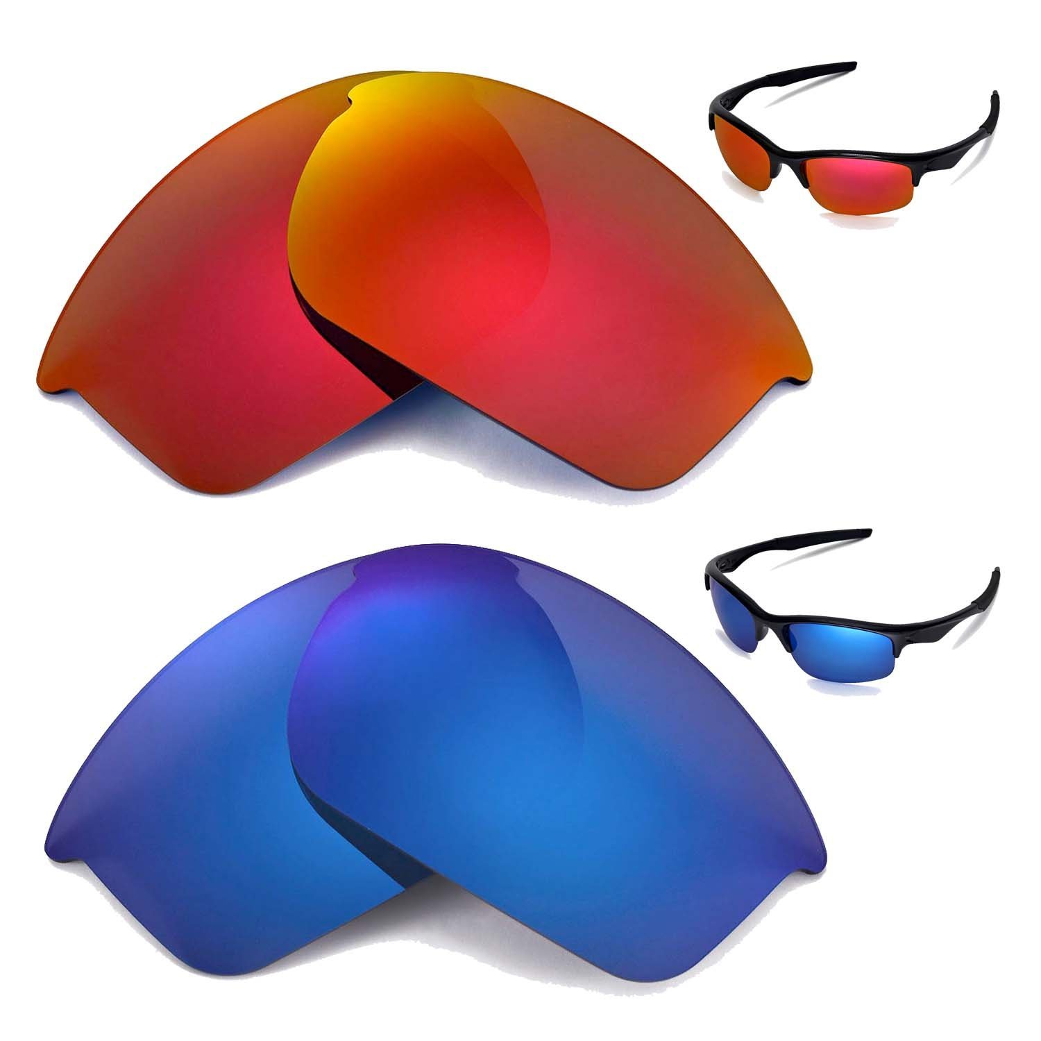 7a75d2bf19 Walleva Polarized Fire Red+Ice Blue Replacement Lenses for Oakley Bottle  Rocket Sunglasses  Amazon.co.uk  Clothing