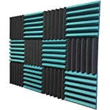 2x12x12 (12 Pack) TEAL/CHARCOAL Acoustic Wedge Panels Soundproofing Studio Foam Tiles