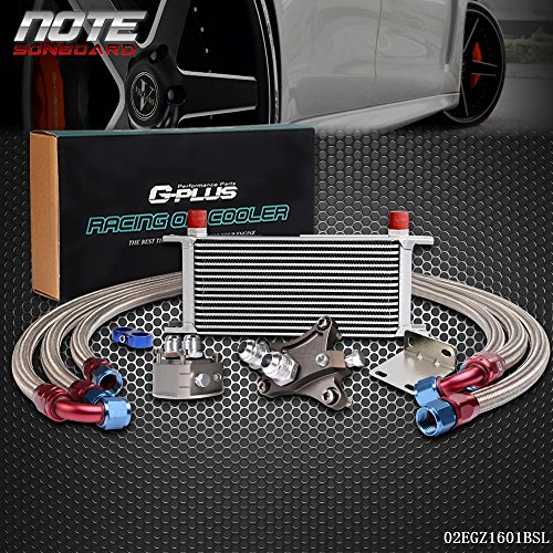 16 Row Aluminum Engine Transmission Oil Cooler Kit For NISSAN Silvia S13 S14 180SX 200SX 240SX SR20DET Silver