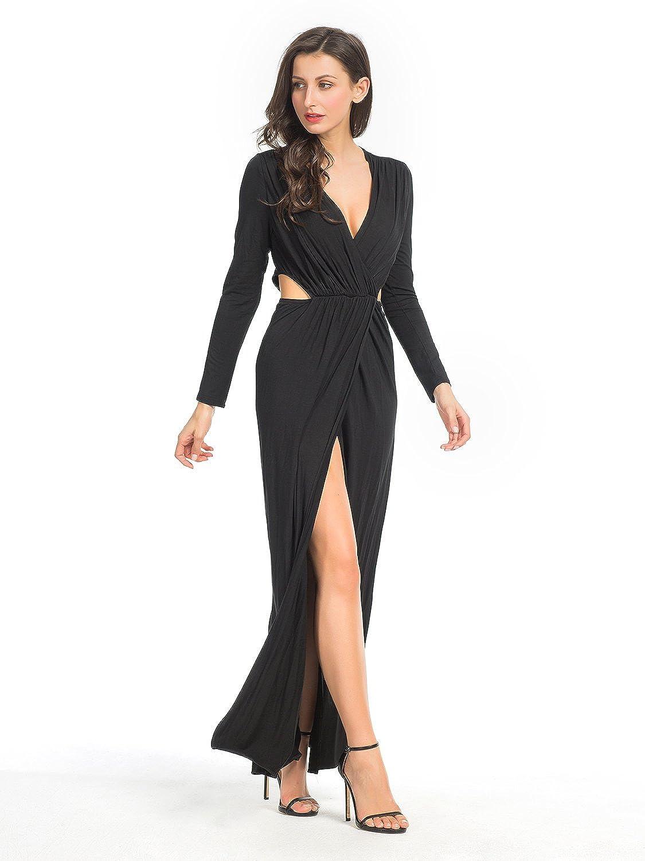 868a32d77e Clothink Women White/Black Wrap Front V Neck Cut Out Split Plain Maxi Dress  at Amazon Women's Clothing store: