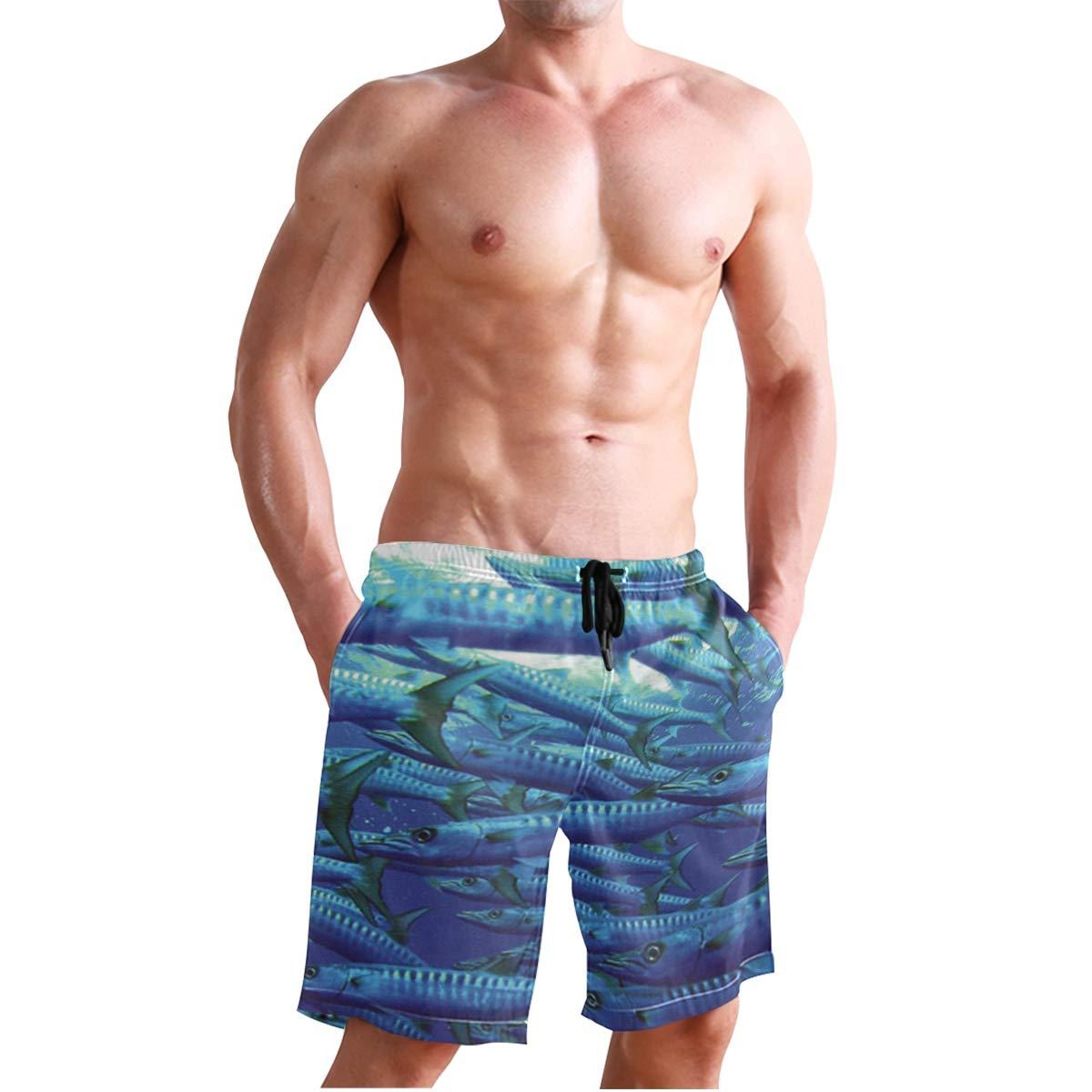 Barracuda Australia Mens Swim Trunks 3D Printed Beach Board Shorts with Pockets for Teen Boys