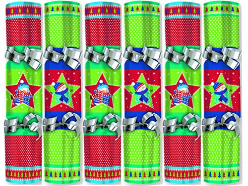 Christmas Crackers Mini 6 inch Size, 6-Pack, Including Party Hat Crown and Joke, Sticker or Activity, Best Party Favor, Holiday Table Decor, Decoration, Bon-Tons, Xmas Gift Stocking Stuffer (Snowman)