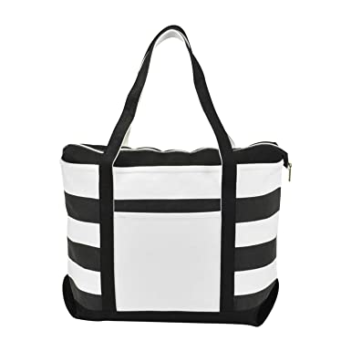 Amazon.com | DALIX Striped Boat Bag Premium Cotton Canvas Tote in ...