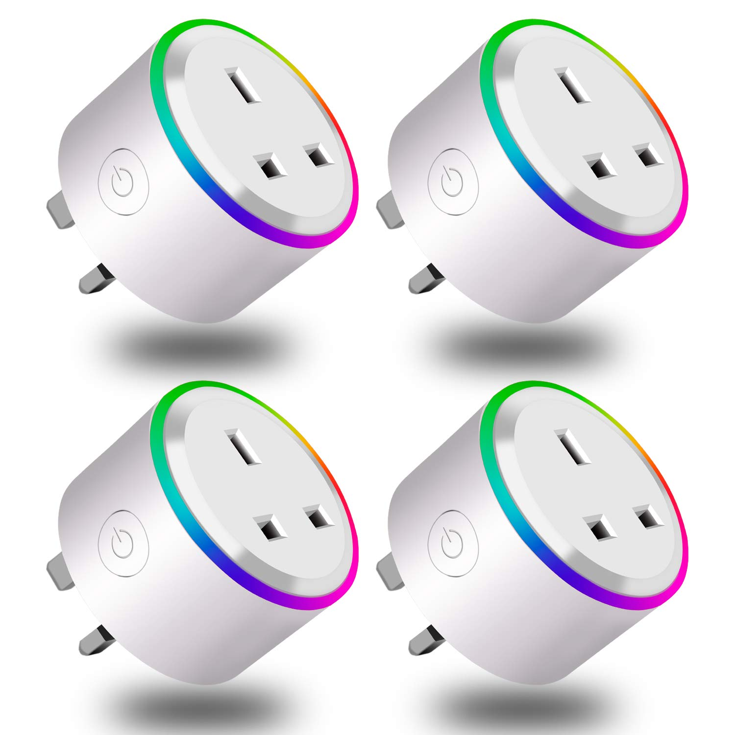 Innens WiFi Smart Plug, Mini Wireless Smart Socket Compatible with Alexa (Echo and Echo Dot) Google Home and IFTTT, RGB LED Light Remote Control Timer Plug Switch No Hub Required (UK Plug) (4 Packs)