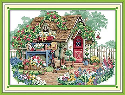 (Joy Sunday Cross Stitch Stamped Kits,Flower Cabin Cross-Stitch Pattern Embroidery Kit)