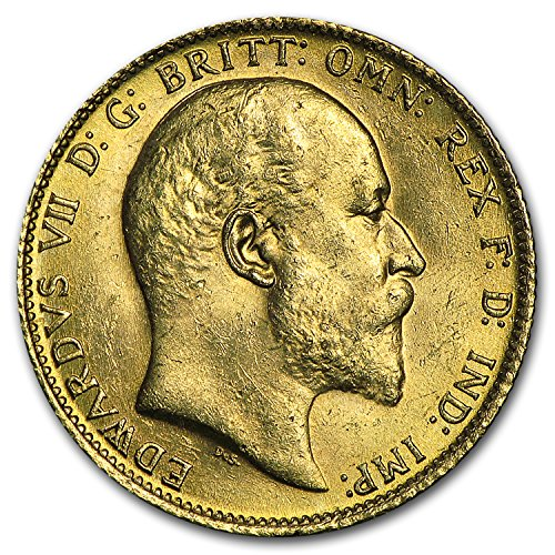 1902 AU - 1910-S Australia Gold Sovereign Edward VII BU Gold Brilliant Uncirculated