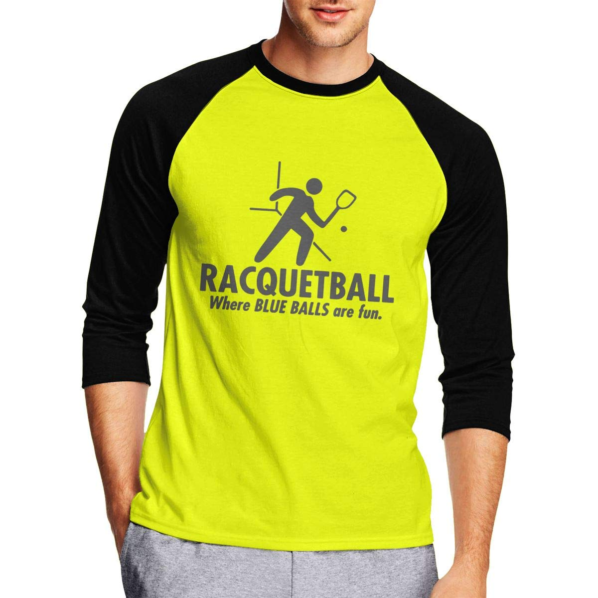 Raquetball Where Blue Balls Offensive Sarcasm Mens Casual Adult Long-Sleeved T-Shirts