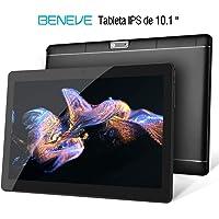 Beneve Tablet PC de 10 Pulgadas,Tab10 Inch 1280 * 800 Resolución,Android 7.0 Nougat,2GB+32GB,Dual sim 4G Panel de 10.1 HD IPS Pulgadas, Procesador MTK QuadCore WiFi PC (Negro)