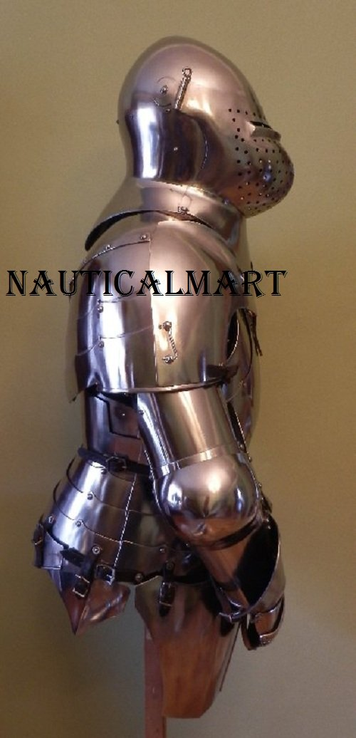 Knight Suit of Armor Breastplate with Helmet Medieval Armor Authentic Costume by NAUTICALMART (Image #1)