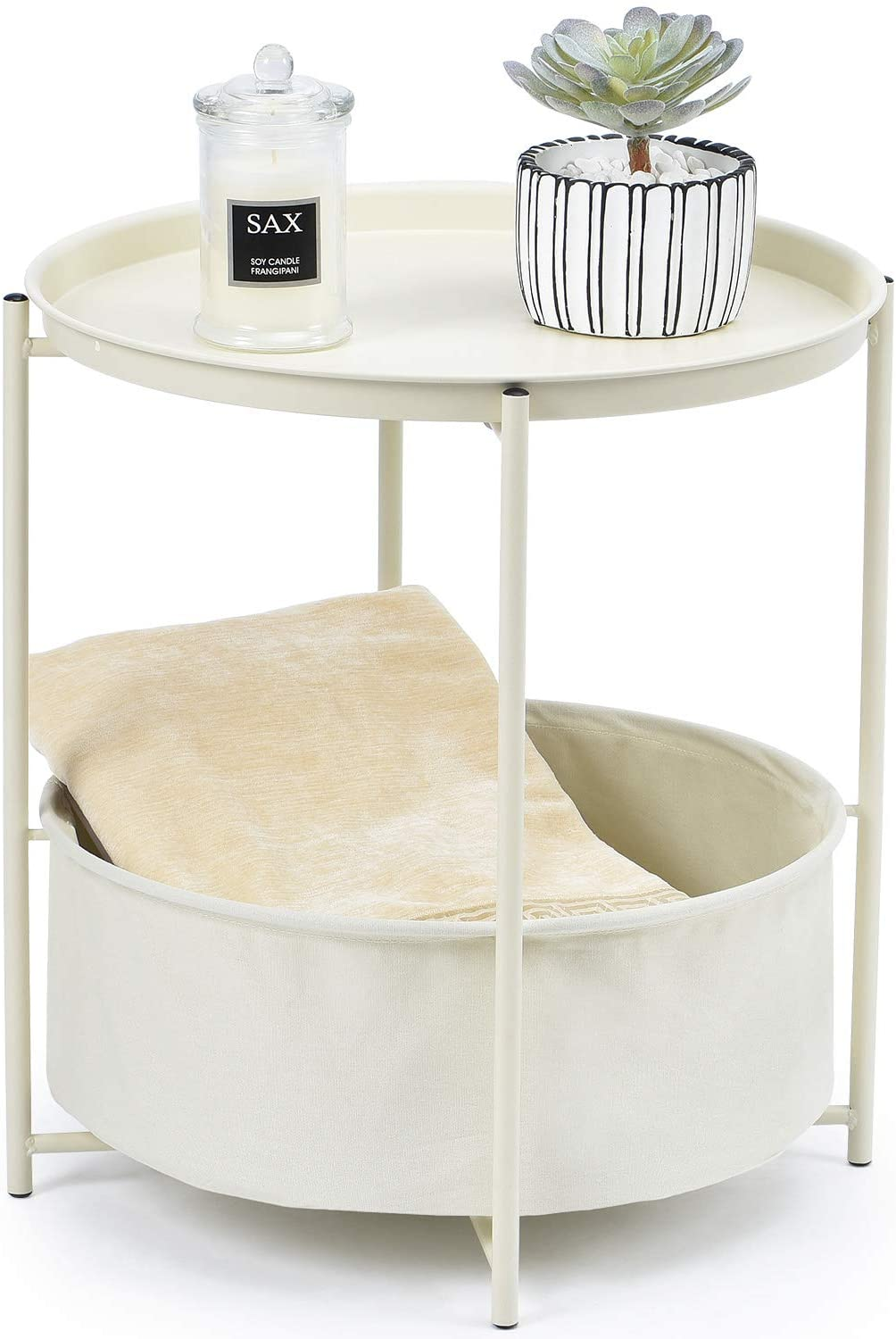 KINGRACK End Table, Metal Nightstand, Sofa Side Snack Table, Coffee Round Table with Detachable Tray Top and Fabric Storage Basket, Scandi Style Table for Living Room Bedroom (Beige White)