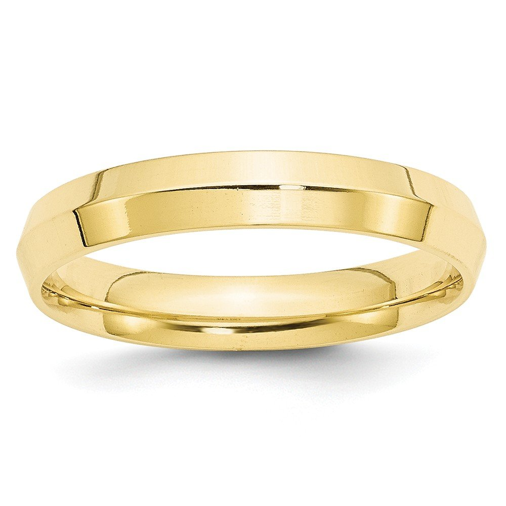 10K Yellow Gold Wedding Band Ring Point Edge Comfort Solid Polished 4 mm 4mm Angle Edge Comfort Fit B