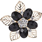 YAZILIND Jewelry Sweet Full Crystal Crystal Flower Hollow Leaves Gold Plated Brooches and Pins for Women Gift