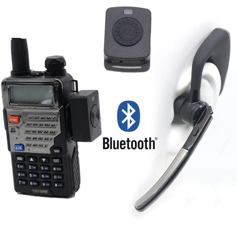 Bluetooth Wireless Adaptor +PTT Headset for Kenwood TYT BAOFENG UV5R Radio HB-6A