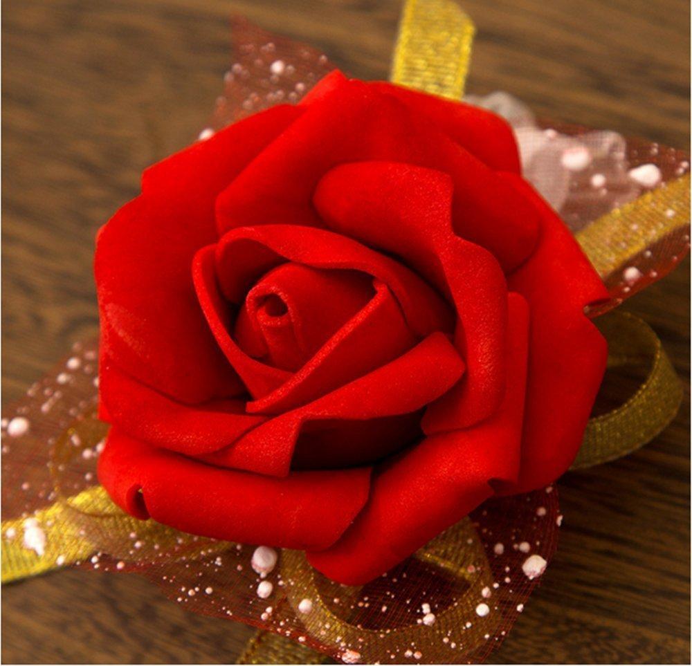 taglia unica Westeng con motivo floreale e nastro per matrimonio o ballo Pink bouquet da polso per sposa o damigella 3/pezzi