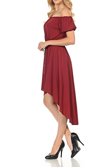 aaa33421c23 Auliné Collection Women s Long Strapless High Low Off Shoulder Ruffle Dress  at Amazon Women s Clothing store