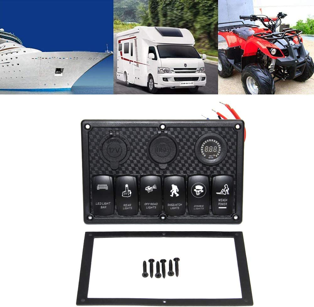 6 Gang+Volt 6 Gang Boat Marine Rocker Switch Panel Waterproof Switches Panel with 12V-24V LED Light Rocker Voltmeter Switch Box for Toggle Switch Jeep Truck Car RV Vehicles