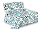 Tache White Blue Paisley Damask Flat Sheet - Frozen Forest - Luxurious Cotton Top Bed Sheet Only With Pillow Covers - 3 Piece Set - California King