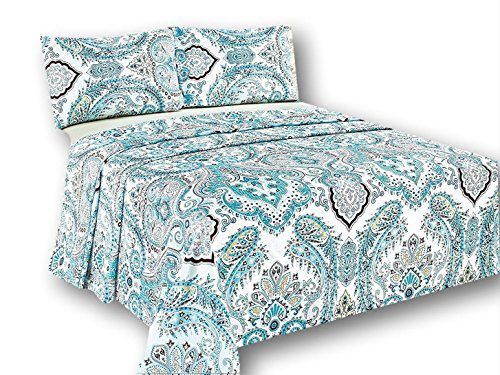 Tache White Blue Paisley Damask Flat Sheet Only - Frozen Forest - Luxurious Cotton Top Bed Sheet with Pillowcases - 3 Piece Set - -