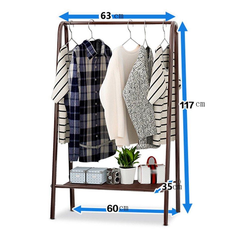 JIANFEI Floor Standing Coat Rack Hat Stand Hanger Frame Structure Hangers Shelf 4 Legs Support, Iron, 60 35 117cm (Color : Brown)