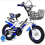 Kids Bikes,High Carbon Steel Bearing Frame Bicycle With Removable Stabilisers And Bottle Holder,Sizes 12'',14'',16'',18,For 3-9-Year-Old Boys And Girls, Send Pump,Installation Tool,Bell,Protector,Blue,12''