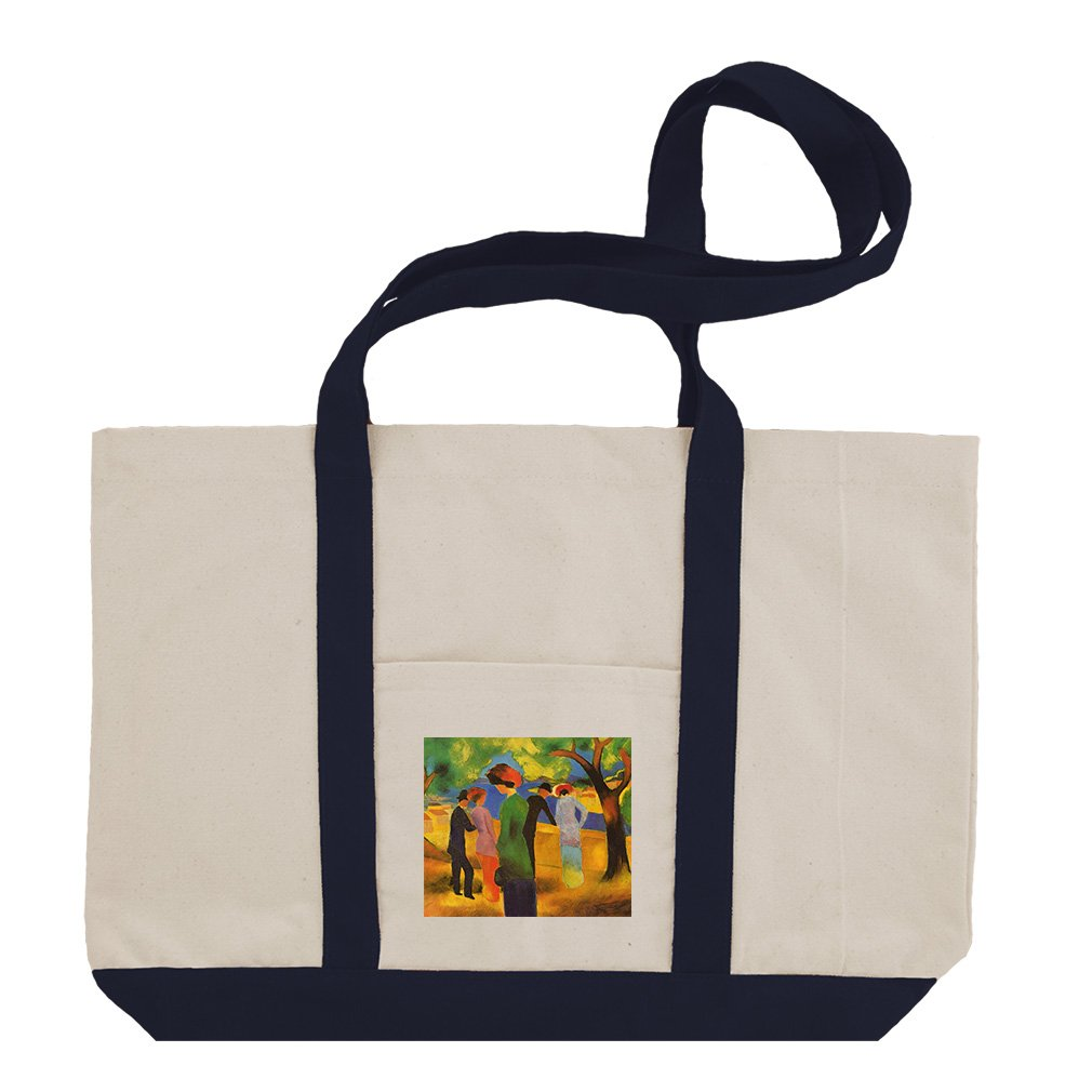 Lady In A Green Jacket (August Macke) Cotton Canvas Boat Tote Bag - Navy