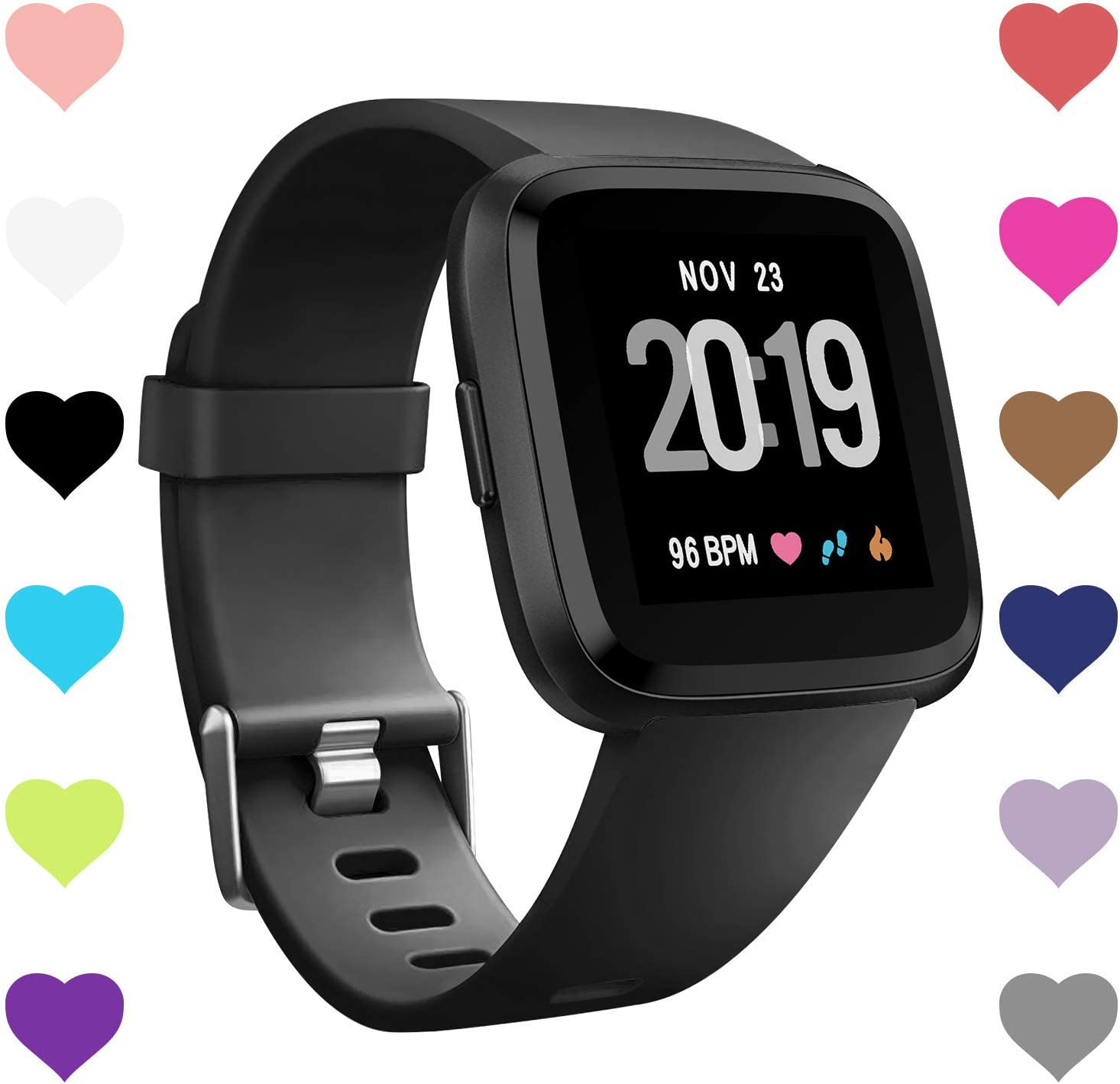 Mallas Compatible Con Fitbit Versa, Negra (L)