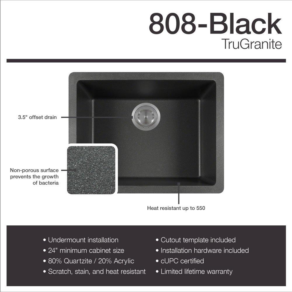 808 Black Undermount Single Bowl Quartz Kitchen Sink   Kitchen Sink    Amazon.com
