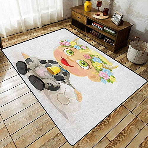 (Rectangular Rug,Zodiac Taurus,Happy Baby with Little Horns and Flowers Cow Bell and Costume Kids Cartoon,Anti-Static, Water-Repellent Rugs Multicolor)