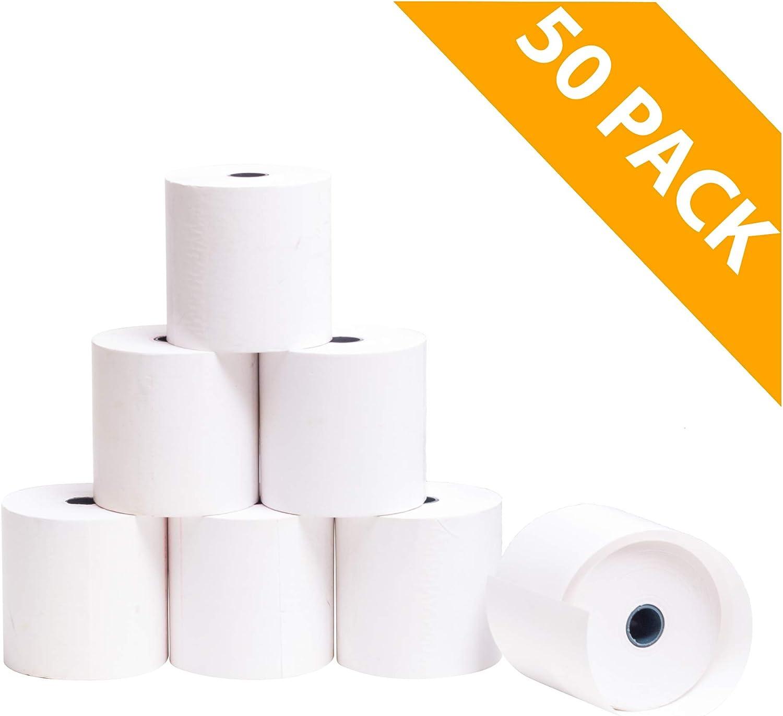 sans bisph/énol A OFITURIA Lot de 20 Rouleaux de Papier Thermique 57 x 55 x 12 mm pour imprimante TPV