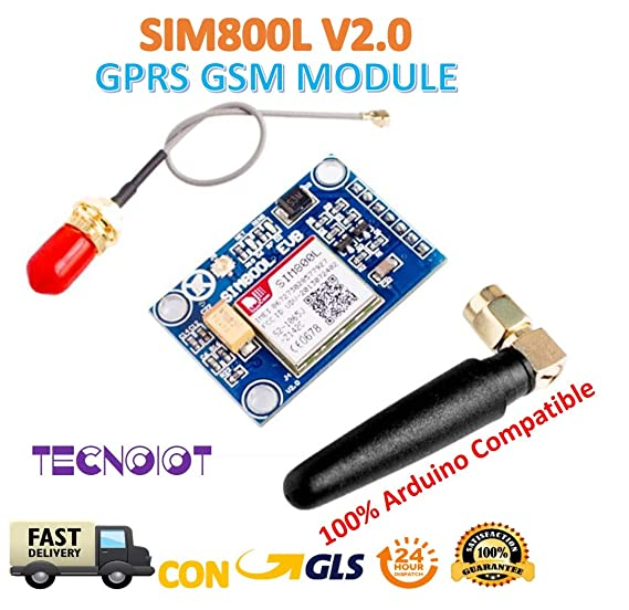 TECNOIOT SIM800L V2.0 5V Wireless gsm GPRS Module Quad-Band with Antenna Cable Cap