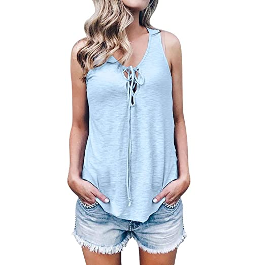 93274b99b66c Amazon.com: OrchidAmor Women Sleeveless Solid Bandage Casual Tank Top Soft  Comfortable Top Blouse: Clothing