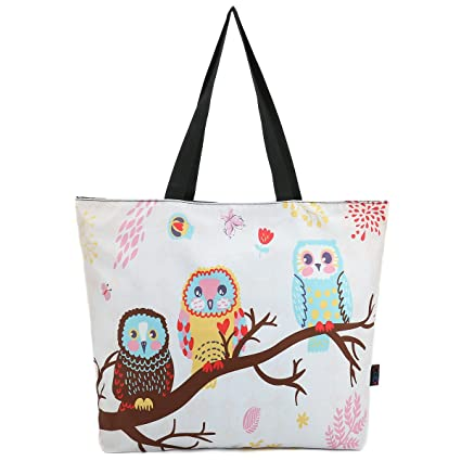 Amazon Com Icolor Cute Owls Reusable Grocery Shopping Bag Tote Eco