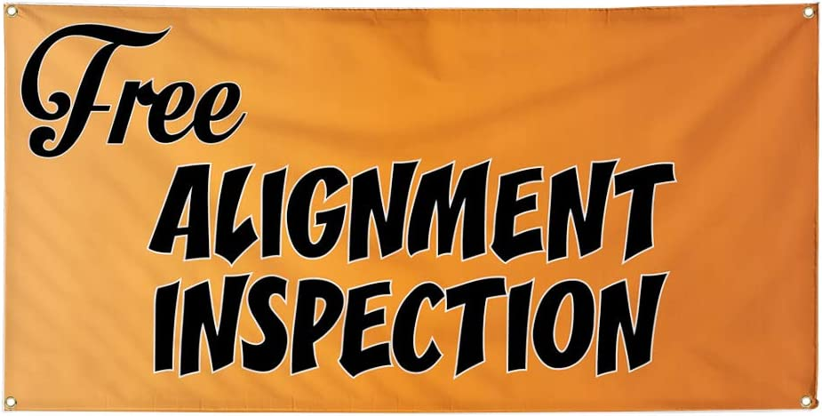 Set of 2 Vinyl Banner Sign Free Alignment Inspection #1 Automotive Marketing Advertising Brown 28inx70in 4 Grommets Multiple Sizes Available