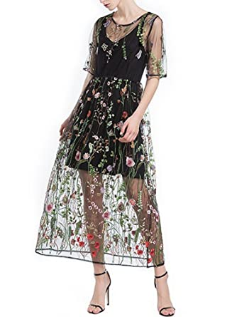 32843a6d698 Jieshkouon Women s Floral Embroidered Tulle Prom Maxi Dress-Summer Dress  with Cami