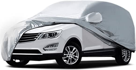 Audew Car Cover SUV Cover Car Snow Cover UV Protection/Waterproof/Windproof/Dustproof/Scratch Resistant Outdoor Full Car Covers for SUV Car XL (191''-201'')