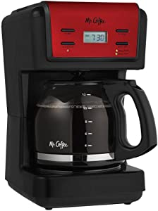 Mr. Coffee 12-Cup Red Programmable Coffee Maker with Brushed Stainless Accents (red)