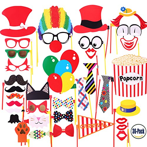 Attached Photo Booth Props, COOLOO Party Favors for Wedding Birthday Carnival Bachelorette Dress-up Acessories 36 Pcs, Costume with Mustache, Glasses, Cat, Clown, Bowler, Bowties on Plastic (Carnival Themed Backdrop)