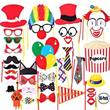 COOLOO Circus Photo Booth Props For Carnival Party,Wedding,Birthday,Bridal,Graduation,Halloween,Christmas,Ready to Use 36 PCS Supplies:Clown,Mustache,Hats,Funny Glasses,Durable Paper Emoji Parts
