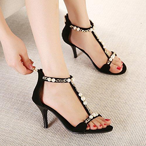 RUGAI-UE Sommerhochhackigen Damen Sandalen Zehen Damenschuhe europäische und amerikanische Mode