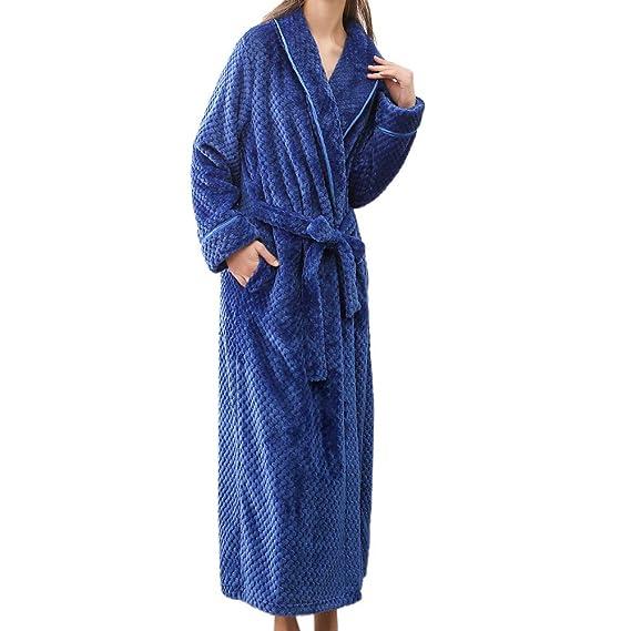 Zyueer Peignoir Femme Polyester Robe De Chambre Polaire Chaud Long Polyester Peignoir De Bain Homme Eponge Hiver Longue Unisex Pas Cher