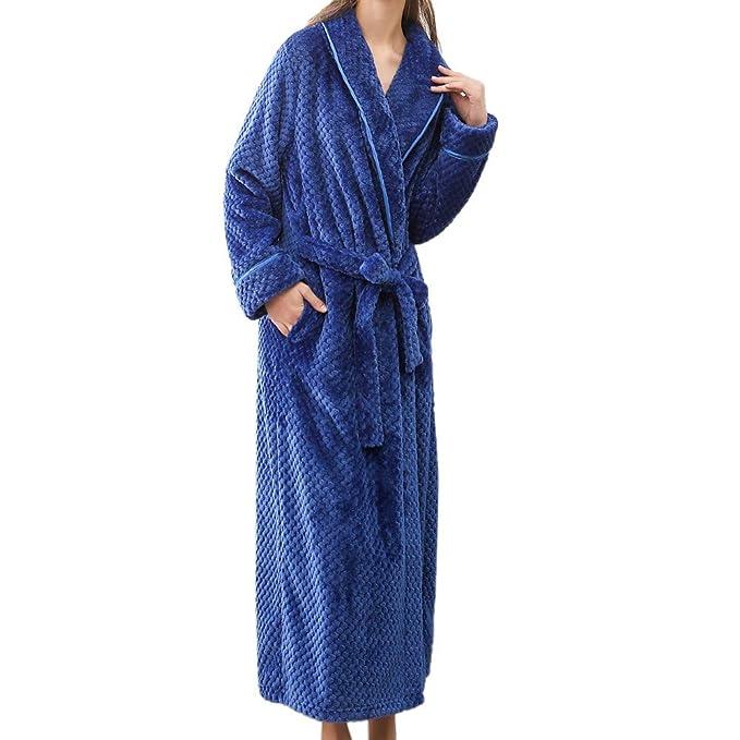 Bata de baño Talla Grande Pijamas para Hombre 🌲 Albornoz Alargado de Invierno para Mujer Inicio Ropa Mantón Pijamas Bata de Manga Larga de Yesmile: ...
