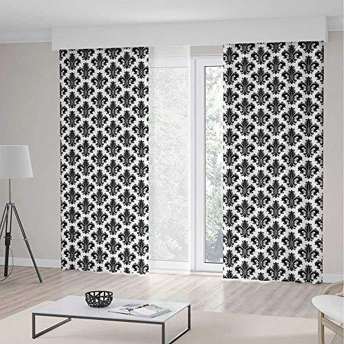 TecBillion Window Blackout Curtains,Fleur De Lis for Living Room,Monochrome Royal Lily Pattern Victorian Inspiration Ornamental Vintage Design Decorative,55Wx82L Inches