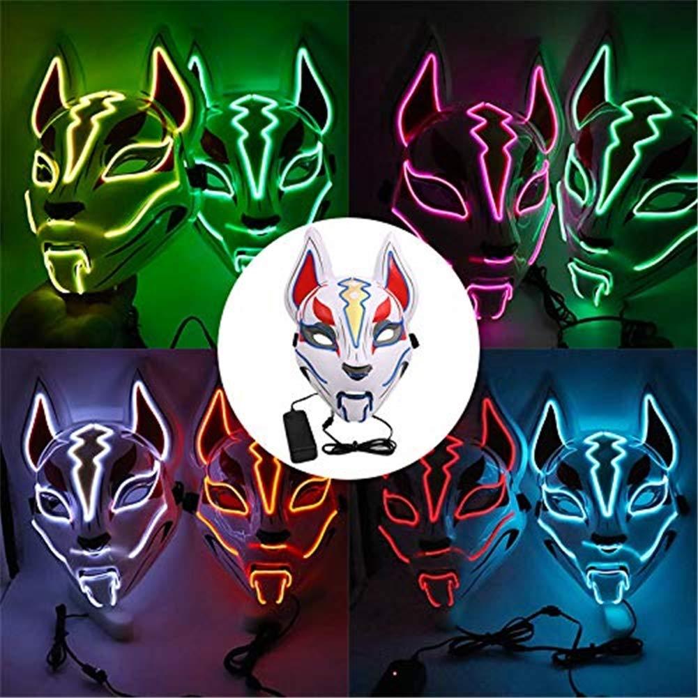 XBSXP M/áscara Luminosa de Deriva Fox Headwear M/áscaras de Luces LED para Fiesta Cosplay Atrezzo Disfraces de Halloween,Red