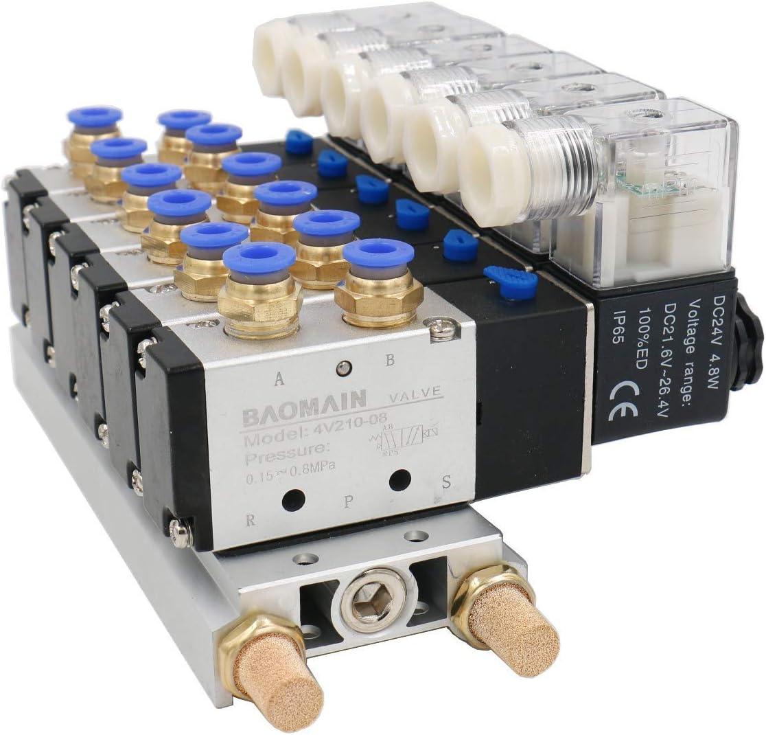 4V210-08 - Cabezal monofásico CC 24 V, 2 posiciones, 5 vías, 6 electroválvula neumática con base